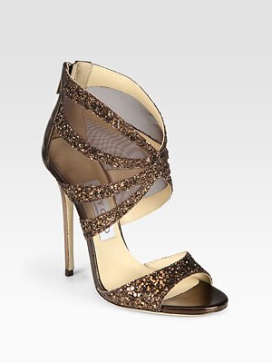 Jimmy Choo Leila Glitter-Coated Metallic Leather and Mesh Sandals