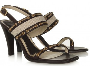 Marni Canvas and Leather, Chain-Embellished Sandals
