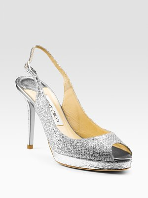 Nova Glitter-Covered Peep-Toe Pump from Jimmy Choo