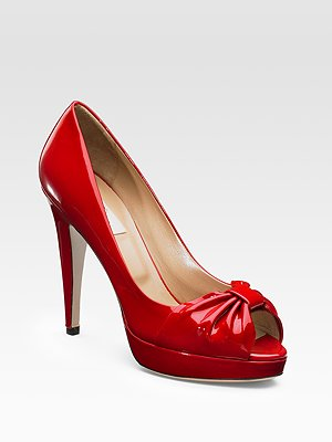 Valentino Red Patent Leather Peep-Toe Pump