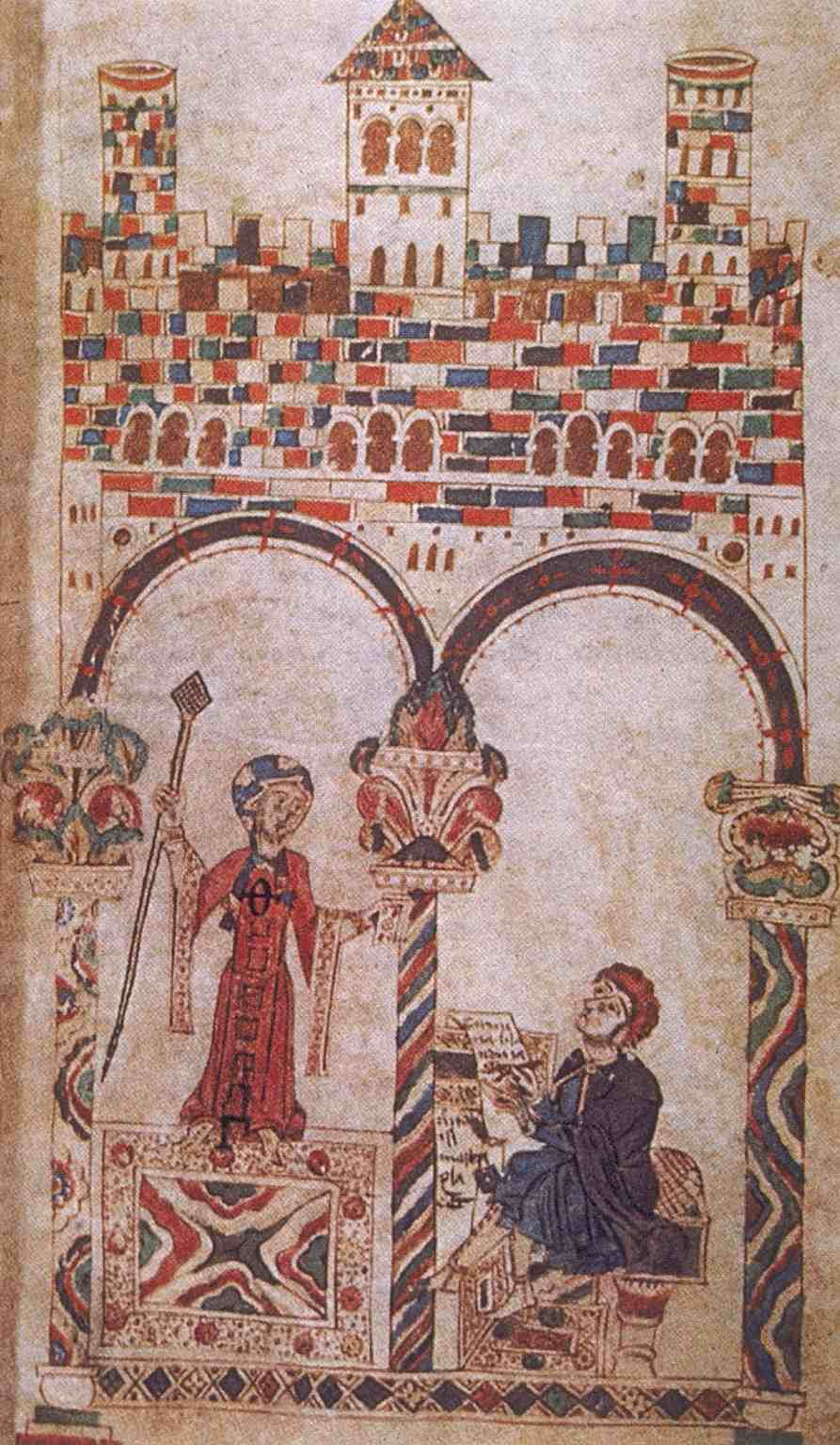 """Anonymous Medieval manuscript illumnation of """"Boethius and Lady Philosophy"""""""