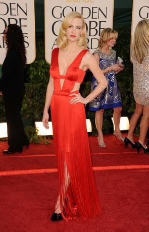 January Jones in Red Versace Gown for the Golden Globes