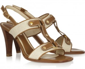 Marni Canvas and Leather, T-Strap Sandals