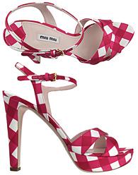 Miu Miu Red Tafetta Gingham Sandals