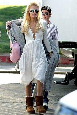 Paris Hilton Shuffling Along in Uggs